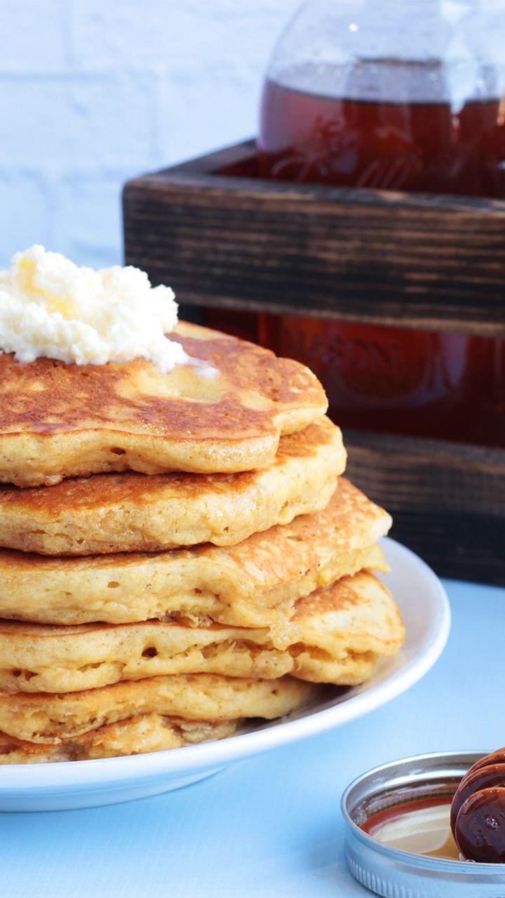 Masa Pancakes with Lemon Mascarpone and Honey