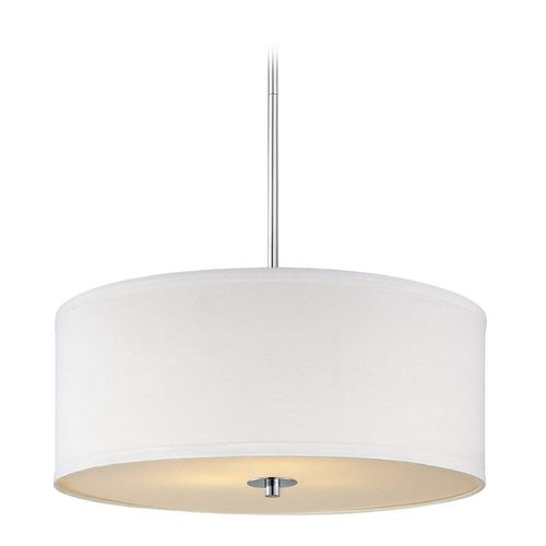 Our very popular drum pendant light with a white linen shade is now available in a brand new finish of polished chrome!