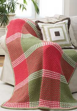 Combine the thick and textured star stitch with a plaid color layout for a warm and eye-popping afghan...,free pattern