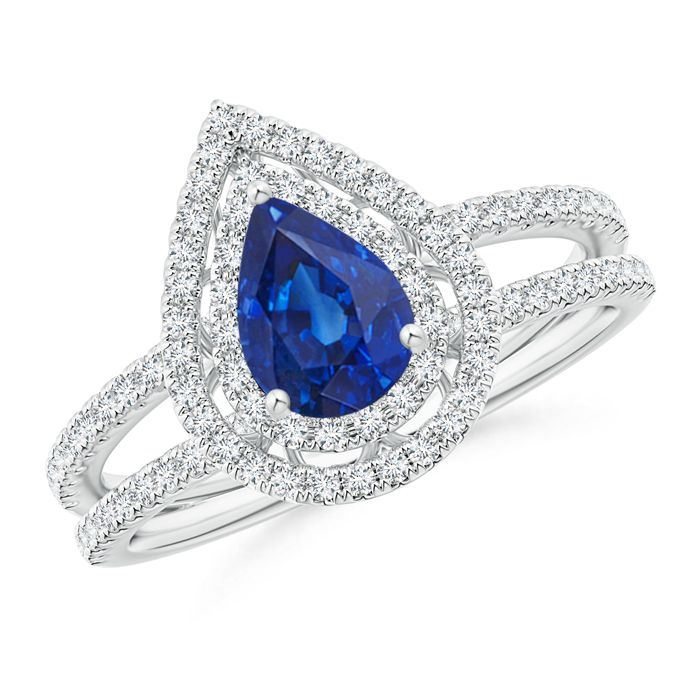 Angara Solitaire Double Claw Tanzanite Trinity Ring with Diamond Yellow Gold EA8jwm