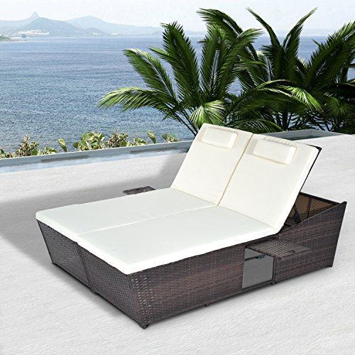Outsunny 2 Seater Double Rattan Sun Lounger Recliner Day Bed Outdoor Wicker Weave Furniture Sofa w/ Fire Retardant Cushions – Mixed Brown