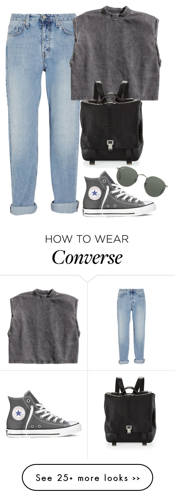 """""""Untitled #361"""" by fayeedaly on Polyvore featuring moda, MiH Jeans, H&M, Converse, Proenza Schouler e Ray-Ban"""