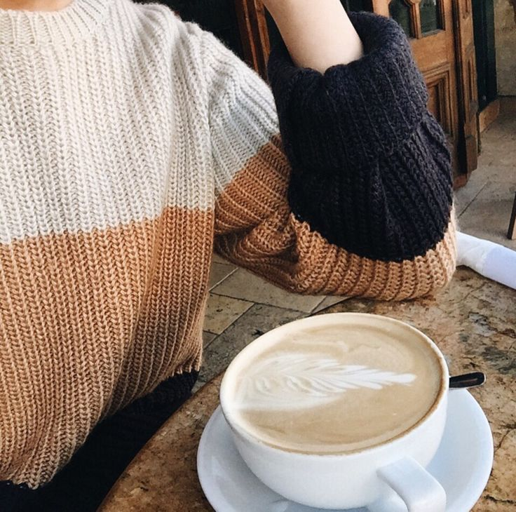 Knitted colorblock sweater and coffee -- perfect mondays