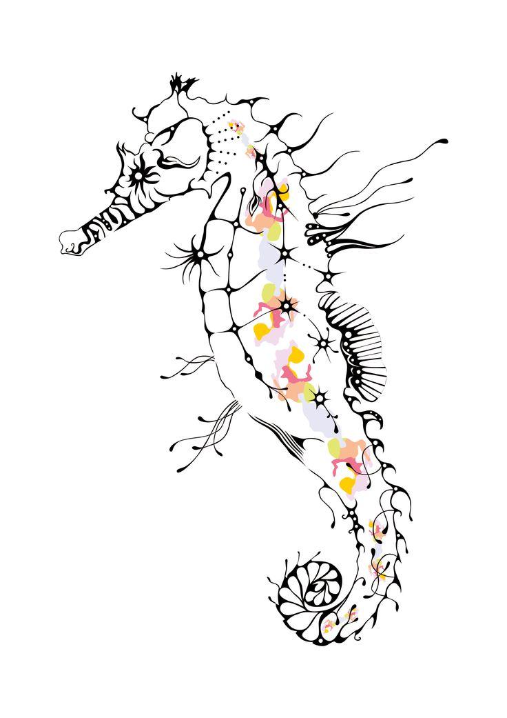 seahorse, drawing, corel draw