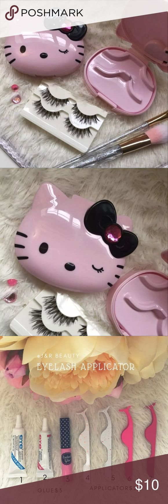 Hello kitty eyelash case + wispy Eyelashes Include  ❣️Hello kitty eyelash case ❣️2 wispy lashes  +$2 Add on eyelash Applicator  +$3 Add on eyelash glue Please message me if you want to add them.    # tags Iconic, mink, red cherry eyelashes, house of lashes, doll, kawaii, case, full, natural,  Koko, Ardell, wispies, Demi , makeup,Sanrio, hello kitty, pill case, eyelash  Last 1 ✨❣️❤️⭐️ Hello Kitty Makeup False Eyelashes