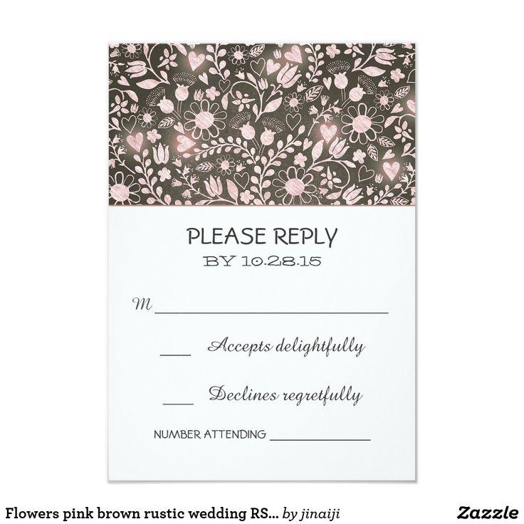 Flowers pink brown rustic wedding RSVP cards rustic country wedding reply cards with pink flowers