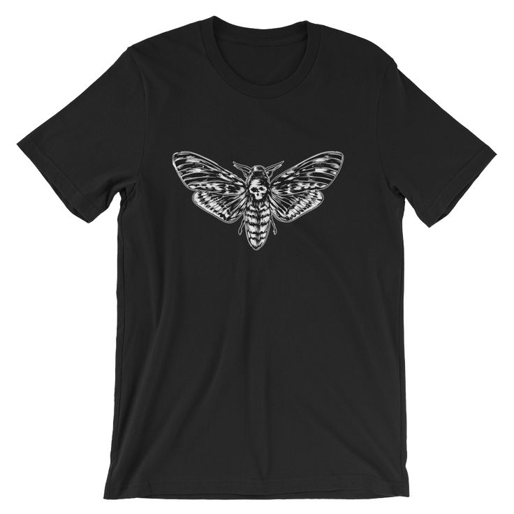 Death head moth graphic T-shirt Illustrated by Artistxdesigns.  hawks moth, skull moth t-shirt tee shirt for.