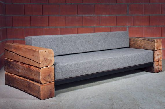 Industrial Handmade Seater Sofa Bed Made Of Raw Wood And Upholstered Seat Custom Orders Are Possible I Will Make A Sofa Sp Rustic Sofa Diy Sofa Bed Wood Sofa