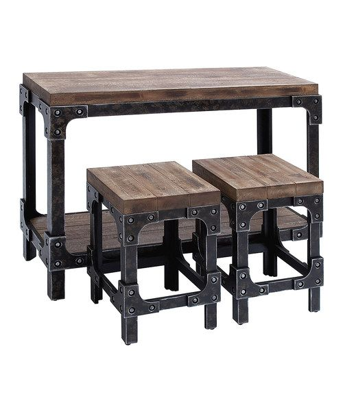 3 Piece Augusta Table U0026 Stool Set   Three Piece Industrial Style Table And  Stool Set With Planked Surfaces And Riveted Metal Hardware.