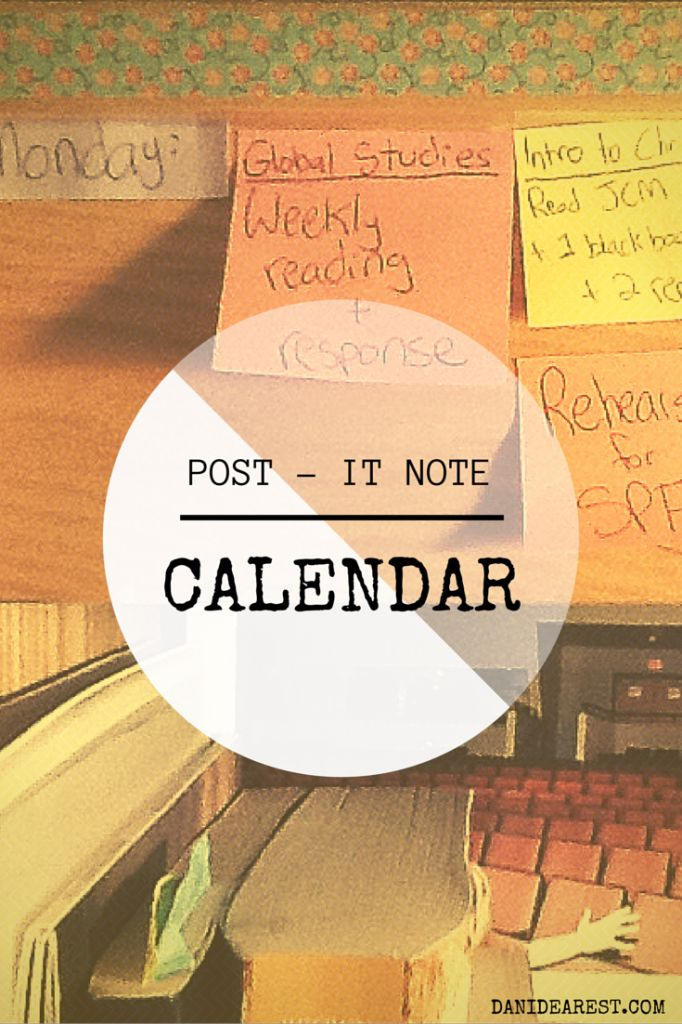 How to make a calendar out of post-it notes! Simple, cheap, creative, effective, and stress relieving. Have a busy schedule? This is perfect to make sure you don't miss anything and to flow through the week with ease.