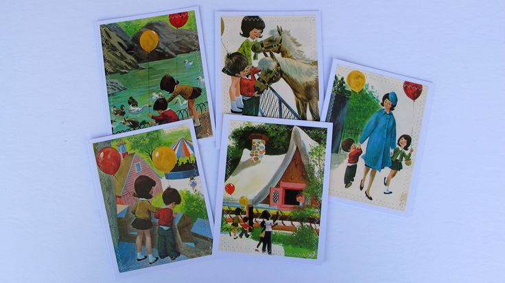 "vintage card set, all occasion handmade vintage ""A Trip To The Zoo"" childrens book illustration card set by BurkeSevenVintage on Etsy https://www.etsy.com/ca/listing/546294109/vintage-card-set-all-occasion-handmade"