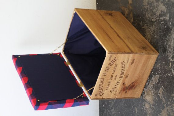 Upcycled double height wine box Ottoman storage by MadeanewShop