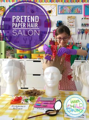 Pretend Paper Hair Salon for Kids - This looks like so much fun, especially for a rainy day!!