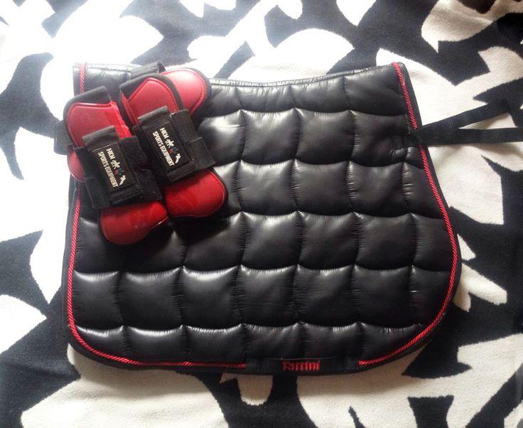 Tattini shiny fabric saddle pad cool dry, HKM Red Tendon boots.