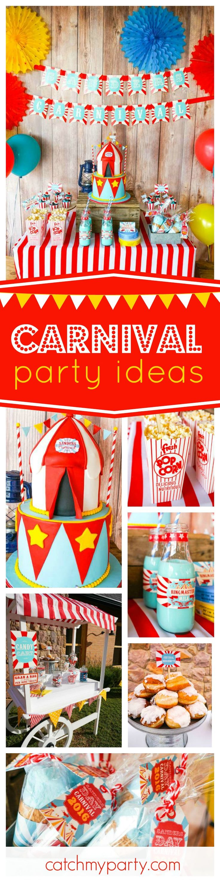 Check out this spectacular Vintage Backyard Carnival party. The carnival tent inspired cake is great!! See more party ideas and share yours at CatchMyParty.com