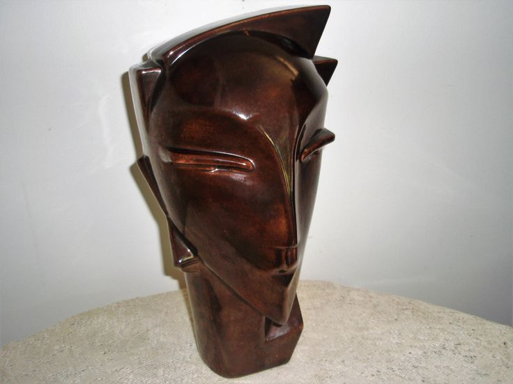 Retro Abstract Bust, Bronze color Ceramic statue, Angular face statue, Modern Futuristic 13 inch Statue, Decorator statement Piece by SocialmarysTreasures on Etsy