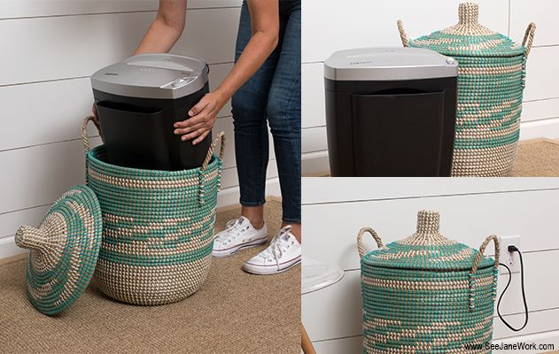 home office hacks - hiding paper shredder in a lidded basket