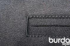 Обработка заднего кармана в мужских брюках (карман в рамку).