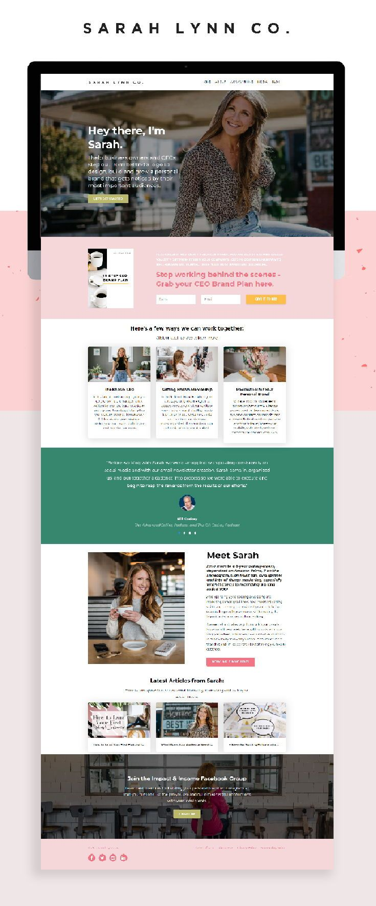 Modern Kajabi Website Design For Sarah Lynn Co In 2020 Business Website Inspiration Colorful Website Design Kajabi