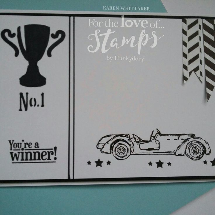 For The Love of Stamps Classic Cars stamp set and mask.  #fortheloveofstamps #hunkydorycrafts #classiccars #vintage #stamping #stamps #monochrome #trophy #cardmaking #cards #handmade