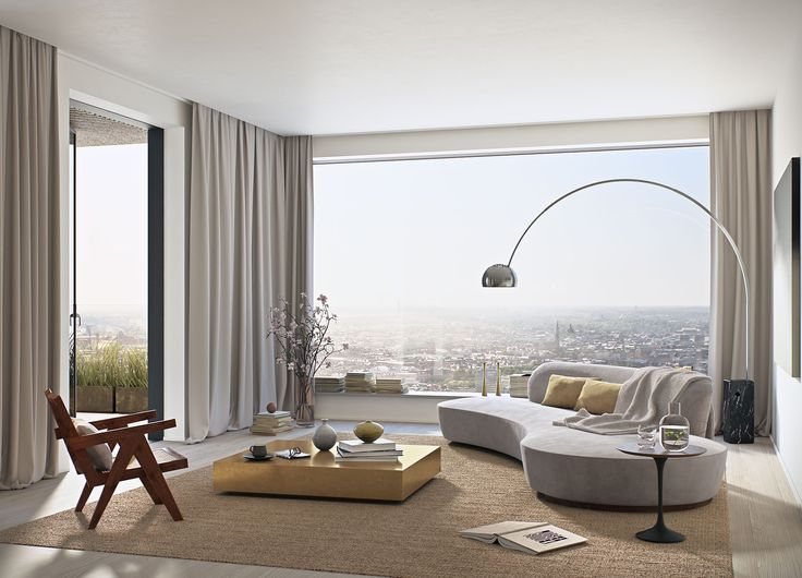 #oscarproperties Norra Tornen - living room - window - view - curtains - sofa - design