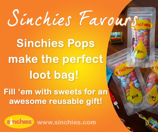 Sinchies reusable pouches make great Loot bags and Favours for parties. Fill them with sweets for an awesome reusable gift!