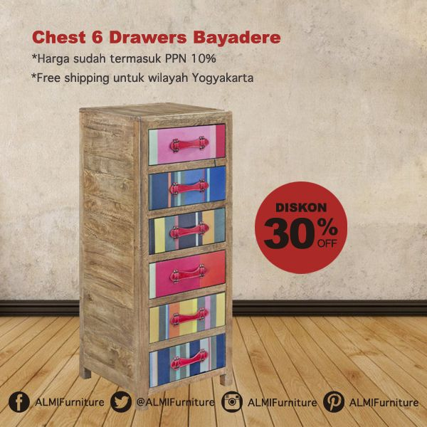 Bawa kesan berbeda di kamar Anda dengan Chest 6 Drawers Bayadere, terbuat dari kayu pilihan memberikan warna baru pada rumah Anda. Info Pemesanan Telp. (0274) 4342 888 (Customer Service & Sales) Cek disini..http://ow.ly/YDxAY