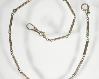 """Vintage 14K sólido bolsillo oro reloj cadena, cadena de acoplamiento de barra hueco, collar, gargantilla de 11,63""""(4.4 g)"""