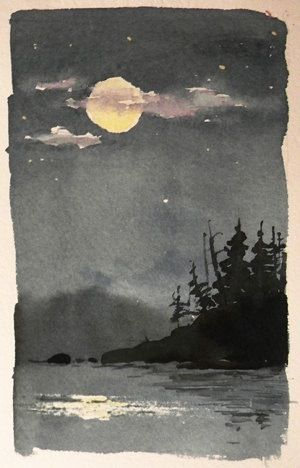 Watercolor painting on thick watercolor paper at night....in a forest....with a beautiful moon....I think I've said more than enough.