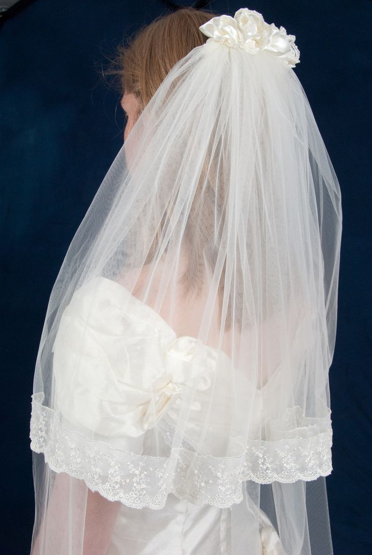 Two tier silk veil with antique lace edge and handmade silk rose detail handmade by Beautiful Unique