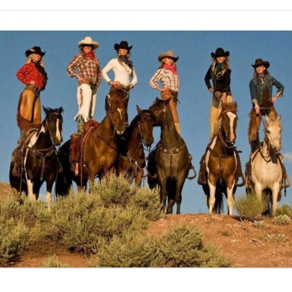 """~ As Mater (Cars) says: """"Git 'er done!"""" What a feat, cowgirls balancing on horseback. Don't try this at home, ha, ha! For experienced cowgirls only. ~"""