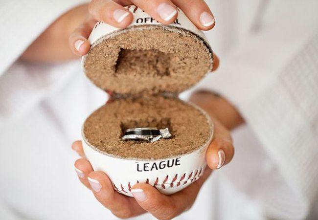 Baseball Ring Holder for Ring Bearer | Kaitlin Noel Photography  | TheKnot.com