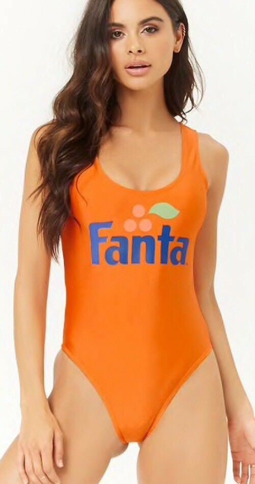 f3eddf28a6e New with tags Fanta soda beverage one piece Size medium Color~orange A  sheeny stretch-knit one-piece swimsuit featuring a scoop neckline and back,  ...