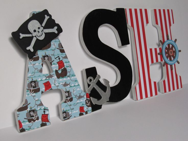 Wooden Letters, Nursery Theme, Boy Theme, Pirate Theme, Nautical Letters by SimplySinclairCrafts on Etsy https://www.etsy.com/listing/258177933/wooden-letters-nursery-theme-boy-theme