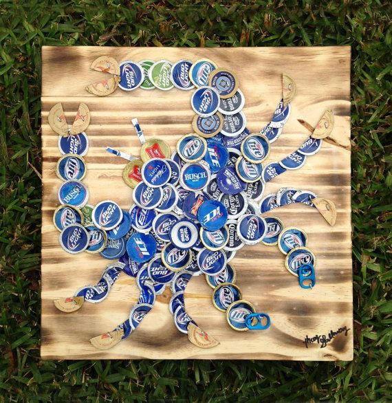 """Beer/Bottle Caps Blue Crab on wood, 12"""" x 12"""", signed original, ready to hang - $75 - would love this for the beach house!"""
