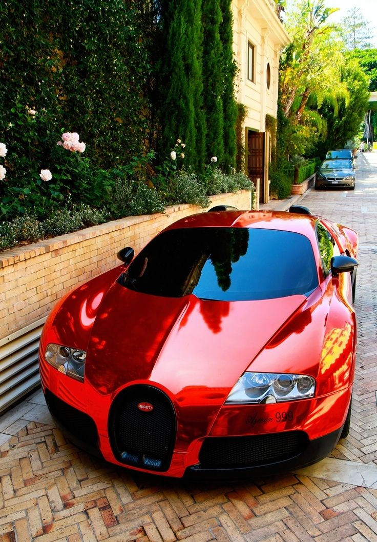 Chrome Red Bugatti Veyron