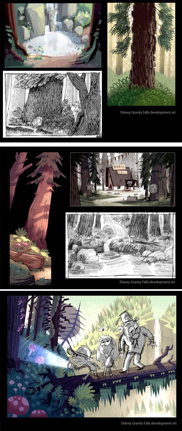 Artes do desenho animado Gravity Falls, da Disney | THECAB - The Concept Art Blog
