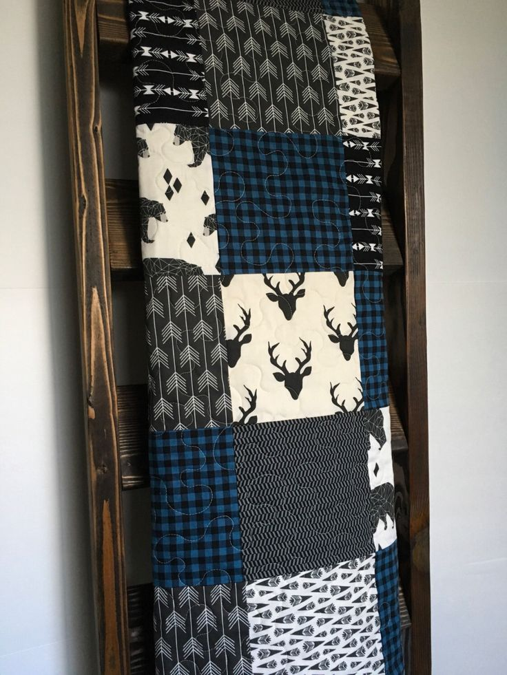 Baby Boy Quilt-Rustic Quilt-Plaid Quilt-Blue Buffalo Plaid-Lumberjack-Boy Crib Bedding-Deer Quilt-Bear-Tribal-Arrows-Woodland Quilt-Blanket by SewAndArrowQuilts on Etsy https://www.etsy.com/listing/486080498/baby-boy-quilt-rustic-quilt-plaid-quilt