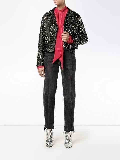 Saint Laurent байкерская куртка с заклепками в виде сердца
