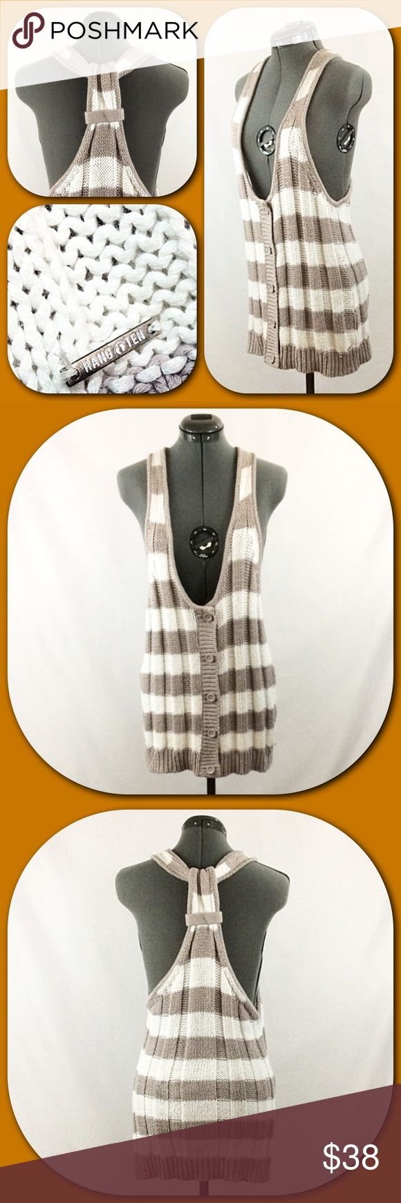 """Hang Ten 💕Taupe and White Stripe Sweater Vest💕 Hang Ten 💕Taupe and White Stripe Long Vest. Beautiful knit button front sweater vest. Large open arm-holes. Hang Ten signature hardware. Racer back. Size XL. EUC.💕  Fabric - 60% Cotton, 40% Acrylic   Measurements taken laying flat with no stretch.  Length - 29"""" shoulder to hem Hang Ten Jackets & Coats Vests"""