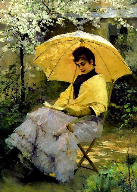 Albert Edelfelt - Woman and Parasol, 1886: Impressionist Paintings, Albert Edelfelt, Yellow Umbrellas, Edelfelt 18541905, Reading Books, Woman Reading, Edelfelt Finnish, Reading Woman, Finnish Painters