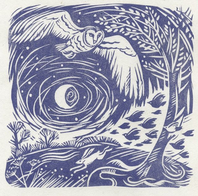 'night flight' - owl, hare, moon - celia hart, linocut