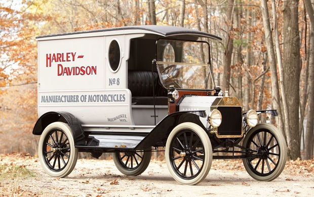 1916 Ford Model T Delivery Truck Delivering Harley Parts
