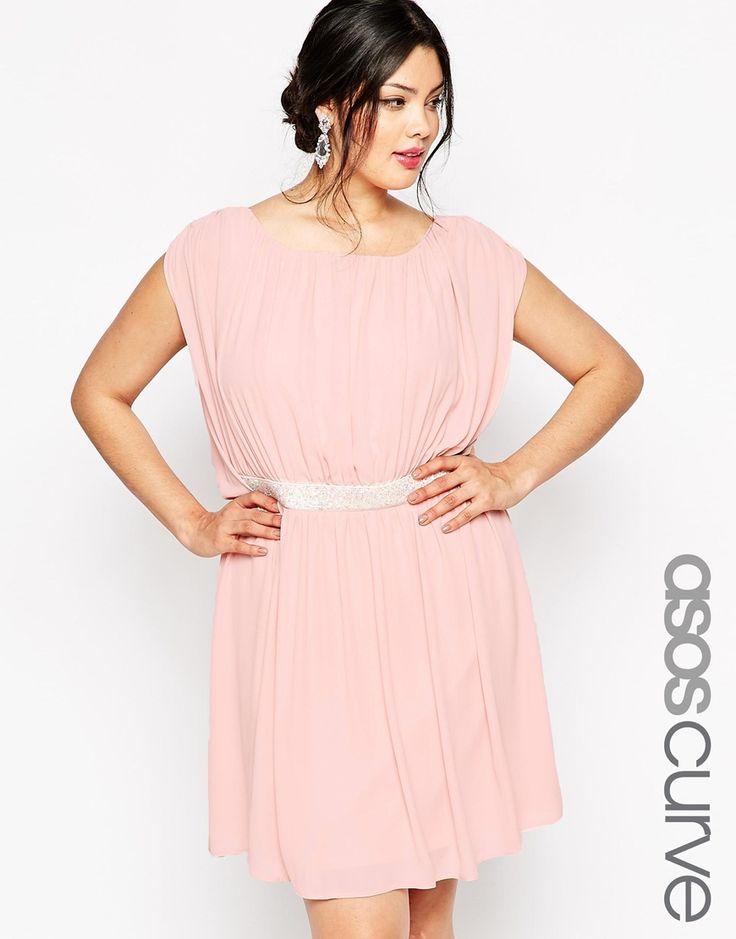 Image 1 ofASOS CURVE Mini Dress with Embellished Waist