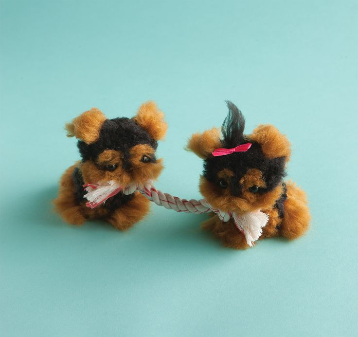 Yorkie tug-of-war from Klutz's Pom-Pom Puppies! Available at Klutz.com or a toy store near you