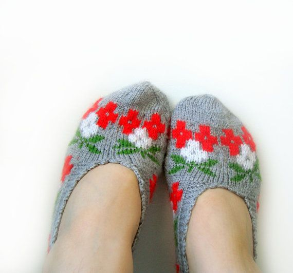 Handmade knit grey red white green home slippers by LovelyKnitShop, $20.00: Green Home, Gray Red, Gray Socks, Gifts Ideas, White Green, Knits Slippers, Handmade Knits, Red White, Gray Slippers