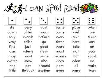 I Can Speed Read dice game for fluency - personalise for individual children