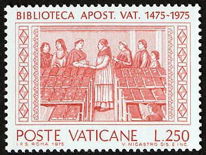 Vatican Apostolic Library (Biblioteca Spostolica Vaticana) 500th anniversary 250 lire commemorative postage stamp depicting founder Pope Sixtus IV visiting the library, Vatican City, 1975