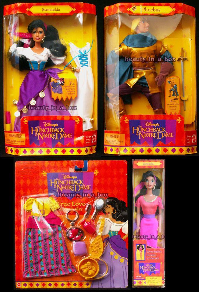 Esmeralda Doll Hunchback of Notre Dame Phoebus Fashion Swimsuit Disney Lot 4 D #Mattel #DollswithClothingAccessories