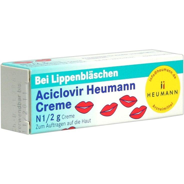 ACICLOVIR Heumann Creme bei Lippenbläschen:   Packungsinhalt: 2 g Creme PZN: 06977954 Hersteller: HEUMANN PHARMA GmbH & Co. Generica KG…